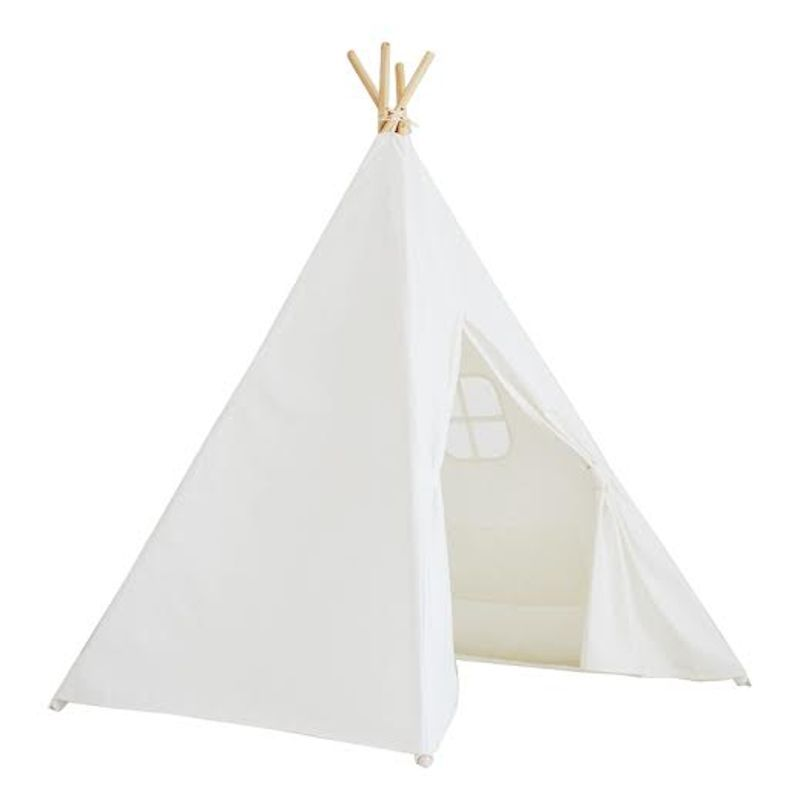 Kids Large White Cotton Canvas Play Tent Teepee Indoor