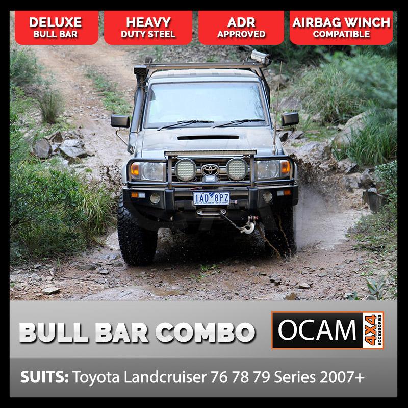 Deluxe Bullbar For Toyota Landcruiser 76 78 79 Series 2007+ 14500 Winch,  9inch LED Lights