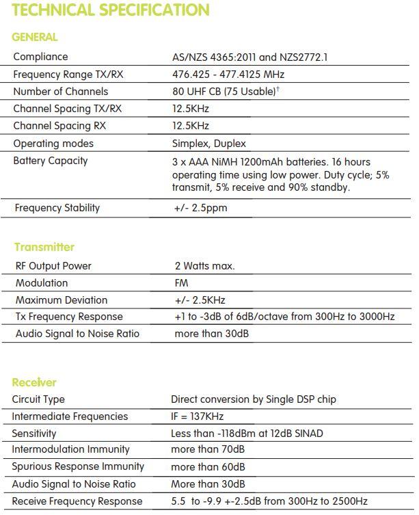 Oricom UHF2500 2 watt Waterproof Handheld UHF CB Radio