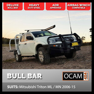 Deluxe Bull Bar For Mitsubishi Triton ML MN 2006-15 Heavy Duty, Steel, ADR