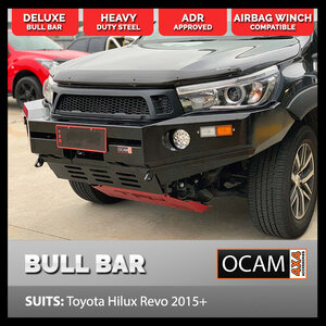 Deluxe Bull Bar For Toyota Hilux GUN Revo 2015-18 W/O Hoops, Steel, Winch Compatible, ADR