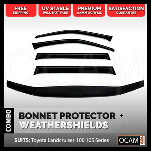 Bonnet Protector, Weathershields For Toyota Landcruiser 100 Series Visors