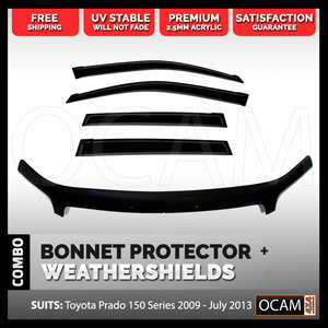 Bonnet Protector, Weathershields For Toyota Prado 150 Series 2009-13 Visors