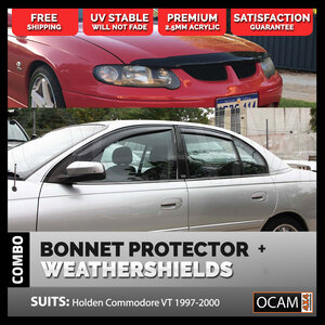 Bonnet Protector, Weathershields For Holden VT VU VX Commodore 1997-02 Tinted Guard
