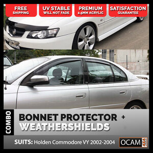 Bonnet Protector, Weathershields For Holdenn Commodore VY 2002-04 Tinted Guard