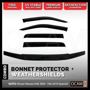 Bonnet Protector, Weathershields For Nissan Navara D40 2005-02/10 Spanish