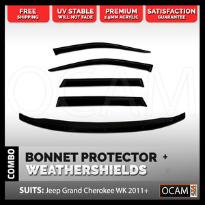 Bonnet Protector, Weathershields For Jeep Grand Cherokee WK 2011-2020 Visors