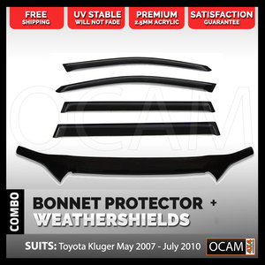 Bonnet Protector, Weathershields For Toyota Kluger 2007-10 Window Visors