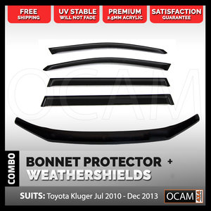 Bonnet Protector, Weathershields For Toyota Kluger 07/2010-12/2013 Visors
