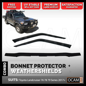 Bonnet Protector Weathershields 2pc For Toyota Landcruiser 70 76 78 Series 17+