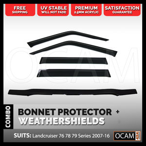Premium Bonnet Protector, Weathershields For Toyota Landcruiser 79 Series, 2007-16
