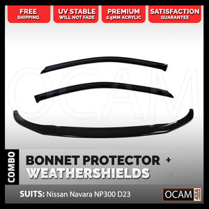 Bonnet Protector, Weathershields For Nissan Navara NP300 D23 2015+ Visors