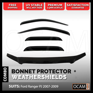 Bonnet Protector, Weathershields For Ford Ranger PJ 2007-2009 Window Visors