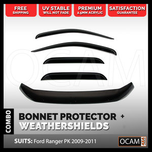 Bonnet Protector, Weathershields For Ford Ranger PK 2009-2011 Window Visors