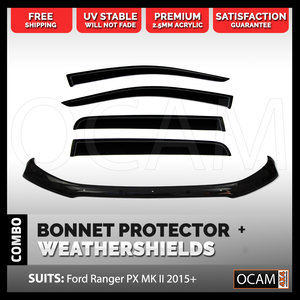 Bonnet Protector, Weathershields For Ford Ranger PX MK II & III 2015 - 2021 Visors