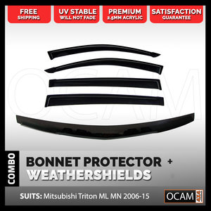 Bonnet Protector, Weathershields For Mitsubishi Triton ML MN 2006-15 Visors