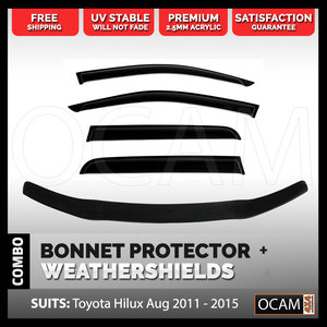 Bonnet Protector, Weathershields For Toyota Hilux Aug 2011-15 Window Visors