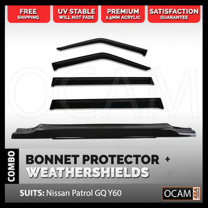 Bonnet Protector, Weathershields For Nissan Patrol GQ Ford Maverick 88-97 - Electric Mirror Model