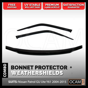 Bonnet Protector, Weathershields For Nissan Patrol GU UTE 2006 - 15 Visors