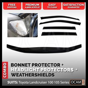 Bonnet, Headlight Protectors, Visors For Toyota Landcruiser 100 Series