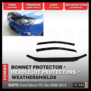 Bonnet Headlight Protectors Weathershields for Falcon FG-UTE  2008-14 XR XR6 XR8