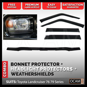 Bonnet & Headlight Protectors, Weathershields For Toyota Landcruiser 70 76 79 Series, 2007-16