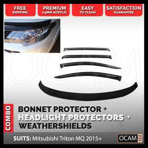 Bonnet, Headlight Protectors, Weathershields for Mitsubishi Triton MQ 2015 - 2019
