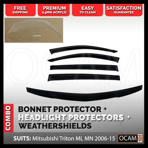 Bonnet, Headlight Protectors, Visors For Mitsubishi Triton ML MN 2006-15