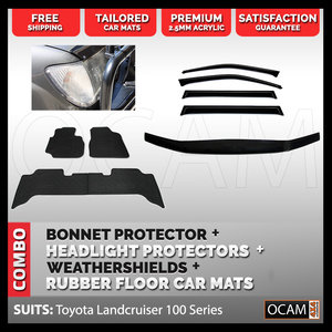 For Toyota Landcruiser 100 Series Bonnet Headlight Protectors, Weathershields Rubber Floor Mats