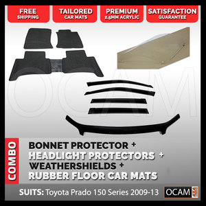 For Toyota Prado 150 Bonnet & Headlight Protectors, Weathershields, Floor Mats