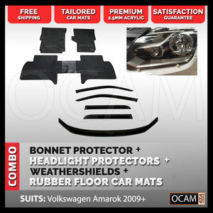 For Amarok 2009-Current Bonnet & Headlight Protectors, Weathershields, Rubber Mats