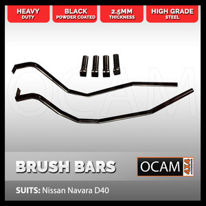 Brush Bars for Nissan Navara D40 Heavy Duty Steel 4WD 4X4