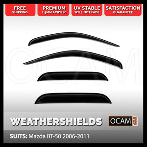 Premium Weathershields for Mazda BT50 & Ford Ranger 2006-2011 Window Door Visors