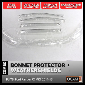 Bonnet Protector, Weathershields for Ford Ranger PX 2011-15 Clear