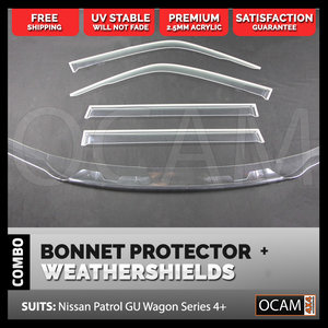 Clear Bonnet Protector, Weathershields for Nissan Patrol GU Wagon Series 4+