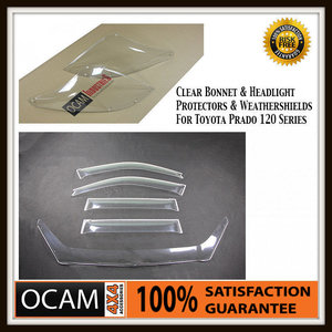 Clear Bonnet, Headlight Protectors, Weathershields Toyota Prado 120 Series