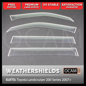 Weathershields for Toyota Landcruiser 200 Series 2007-2020 Clear Visors