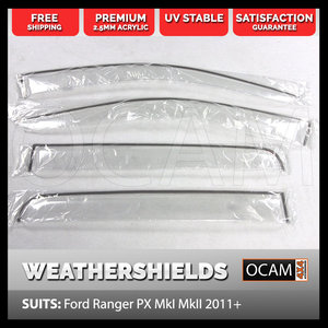 Weathershields for Ford Ranger PX, PX MkII 2011-2018 Clear Visors