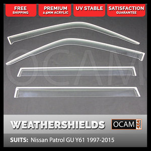 Weathershields for Nissan Patrol GU Y61 2004-15 Clear Window Visors