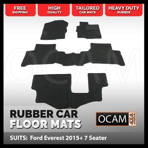 CMM Rubber Car Floor Mats for Ford Everest UA 2015-Current 7 Seater