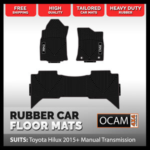 CMM Rubber Car Floor Mats for Toyota Hilux N80, 2015-20, Manual Trans, Dual Cab
