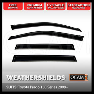 OCAM Weathershields For Toyota Landcruiser Prado 150 Series 2009-2020, Visors