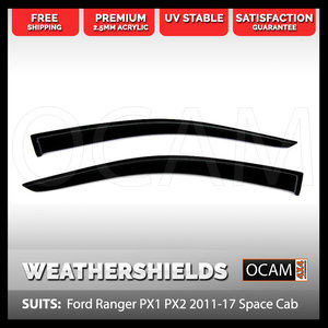OCAM Weathershields for Ford Ranger PX PXII PXIII 2011-2021 Space Cab Window Visors 2-pce
