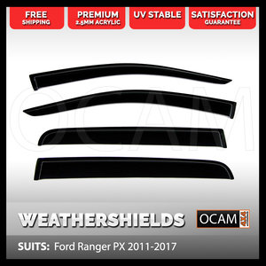 OCAM Weathershields For Ford Ranger PX 2011-2018 Window Door Visors