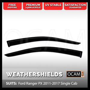 OCAM Weathershields For Ford Ranger PX 2011-2021 Single Cab Window Visors