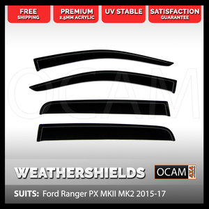 OCAM Weathershields For Ford Ranger PX MKII MKIII 2015-18 Window Visors