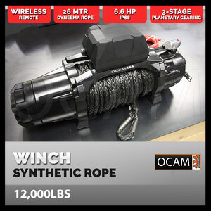 OCAM Premium Electric Winch 12000LBS 26M Synthetic Dyneema® SK-75 Wireless Remote 4WD 12V