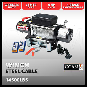 Electric Winch 14,500 pound - Steel Cable Electric Winch WirelessI Remote 4x4