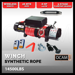Electric Winch 26M Synthetic Rope Wireless Remote Truck 4WD 6577KG  12V 14500LBS