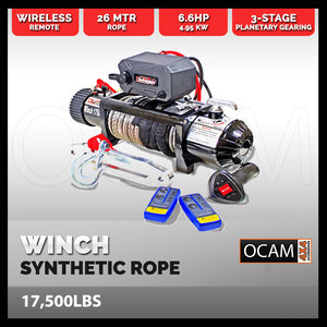 Synthetic Rope Winch 17500LBS Waterproof 6914KG 12V Wireless With Remote 4WD
